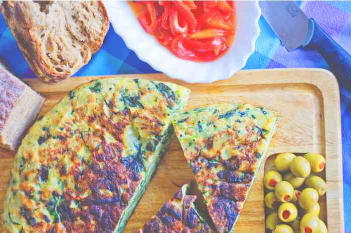 Just mix the eggs and bake!Spanish Omelette
